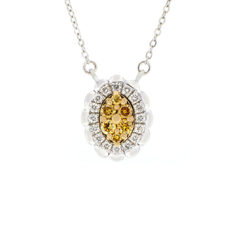 18K White & Yellow Gold Diamond & Yellow Diamond Necklace | 18K 白金及黃金钻石及黃钻项链