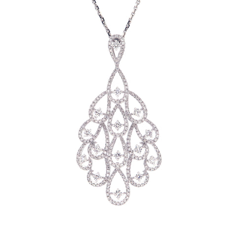 18K White Gold Diamond Pendant | 18K 白金钻石吊坠