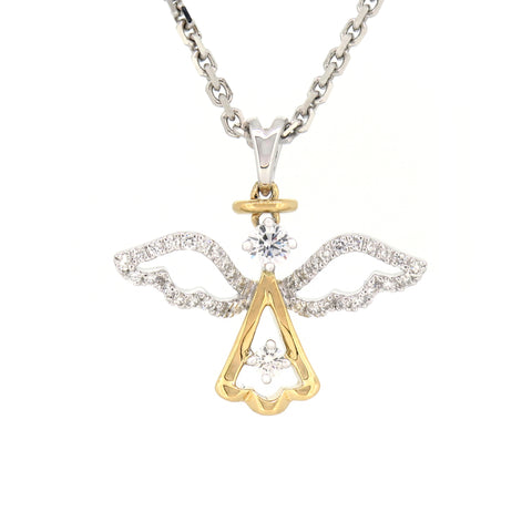 18K White & Yellow Gold Diamond Pendant | 18K 白金及黃金钻石吊坠