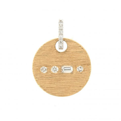 18K White & Yellow Gold Morse Code F Diamond Pendant