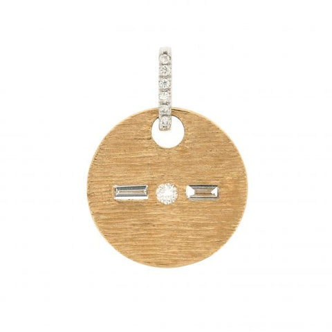 18K White & Yellow Gold Morse Code K Diamond Pendant