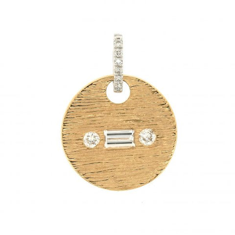 18K White & Yellow Gold Morse Code R Diamond Pendant