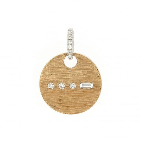 18K White & Yellow Gold Morse Code V Diamond Pendant