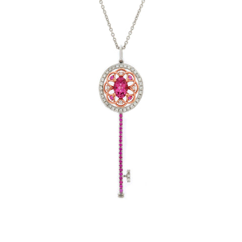 18K Rose & White Gold Pink Tourmaline & Diamond & Pink Sapphire Pendant | 18K 玫瑰金及白金粉红碧玺及钻石及粉红宝石吊坠