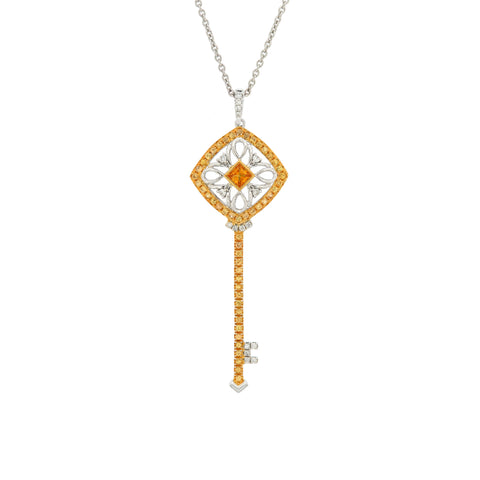 18K White & Yellow Gold Diamond & Yellow Sapphire Pendant | 18K 白金及黃金钻石及黃宝石吊坠