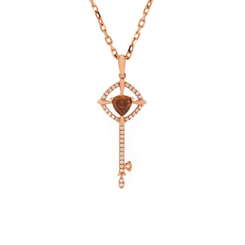 18K Rose Gold Diamond & Fancy Diamond Pendant |  18K 玫瑰金钻石及彩钻吊坠