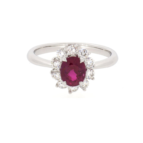 18K White Gold Diamond & Ruby Ring | 18K 白金钻石及紅宝石戒指