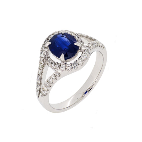 18K White Gold Diamond & Blue Sapphire Ring | 18K 白金钻石及蓝宝石戒指