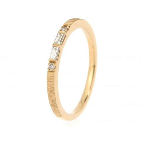 18K Yellow Gold Morse Code P Diamond Ring