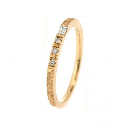 18K Yellow Gold Morse Code V Diamond Ring