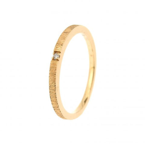 18K Yellow Gold Morse Code E Diamond Ring