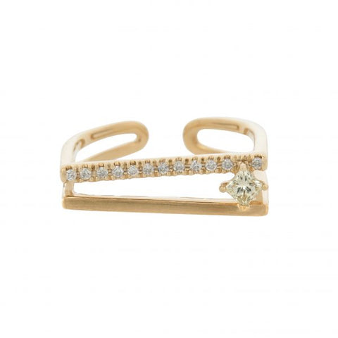 18K Yellow Gold Diamond & Fancy Diamond Ring
