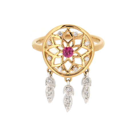 18K White & Yellow Gold Diamond & Pink Sapphire Ring | 18K 白金及黃金钻石及粉紅宝石戒指