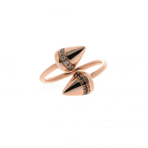18K Rose Gold Diamond & Black Diamond Ring
