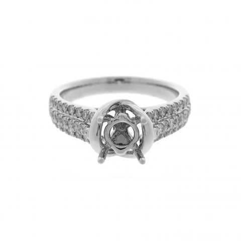 18K White Gold Diamond Ring Semi-Mounting