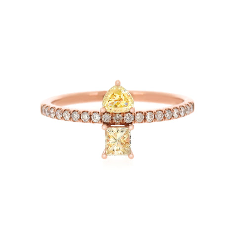 18K Rose Gold Diamond & Fancy Diamond Ring |  18K 玫瑰金钻石及彩钻戒指