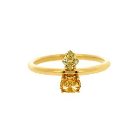 18K Yellow Gold Fancy Diamond Ring | 18K 黃金彩钻戒指