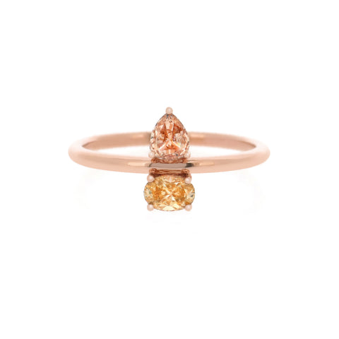 18K Rose Gold Fancy Diamond Ring | 18K 玫瑰金彩钻戒指