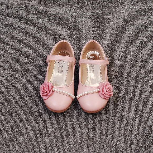94261a4feb33 GIRLS PU LEATHER MARY JANE FLATS EMBELLISHED W BEADS AND 3D FABRIC FLOWERS