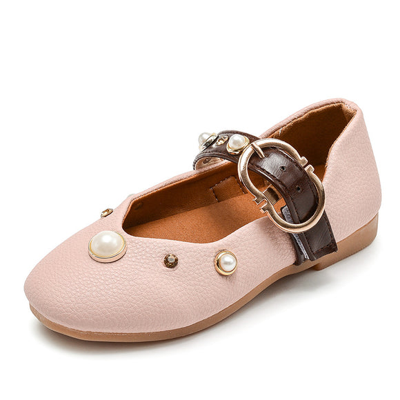 7c83a7b32141 GIRLS PEARL DECOR VINTAGE FLATS VELCRO BUCKLE STRAP MARY JANE SHOES