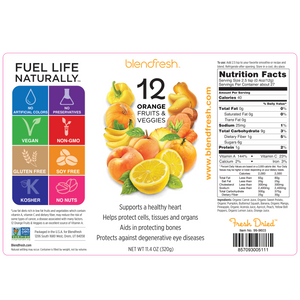 13 Orange Fruits & Vegetables Whole Food Powder