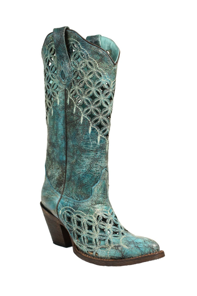 A3349 Ld Turquoise Cutout & Embroidery Turquoise
