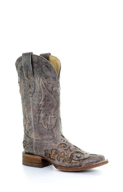 A3415-Ld Brown Snake Inlay Sq. Toe Brown