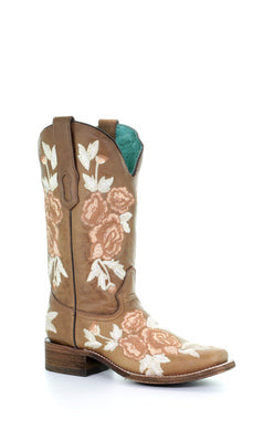 A3526-Ld Brown Floral Embroidery Sq. Toe Brown