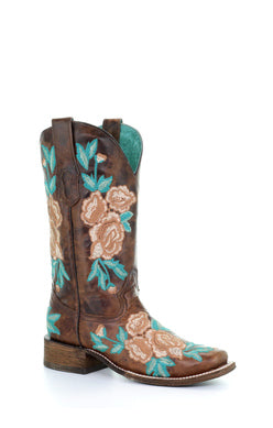 A3527-Ld Chocolate Floral Embroidery Sq. Toe Chocolate
