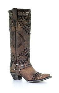 A3594- Ld Brown Inlay & Embroidery & Studs Tall Top Narrow Sq. Toe Brown