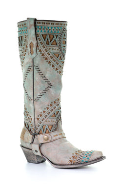 A3595- Ld Turquoise Inlay & Embroidery & Studs Tall Top Narrow Sq. Toe Turquoise