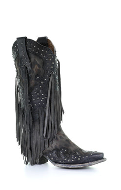 A3619-Ld Grey Goat Overlay & Studs & Fringes Grey