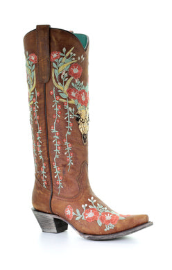 A3620 - Ld Tan Deer Skull Overlay & Floral Embroidery Tan
