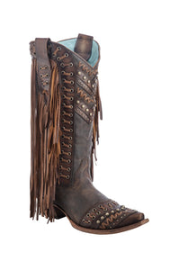C2986 Ld Brown/ Tan Woven Details & Fringed Sides Honey