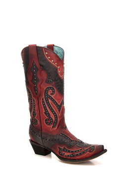 C3352-Ld Red/Black Inlay & Studs & Woven Red/Gray