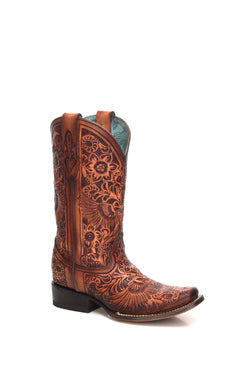 C3364-Ld Cognac Heart & Wings Tooled Sq. Toe Cognac