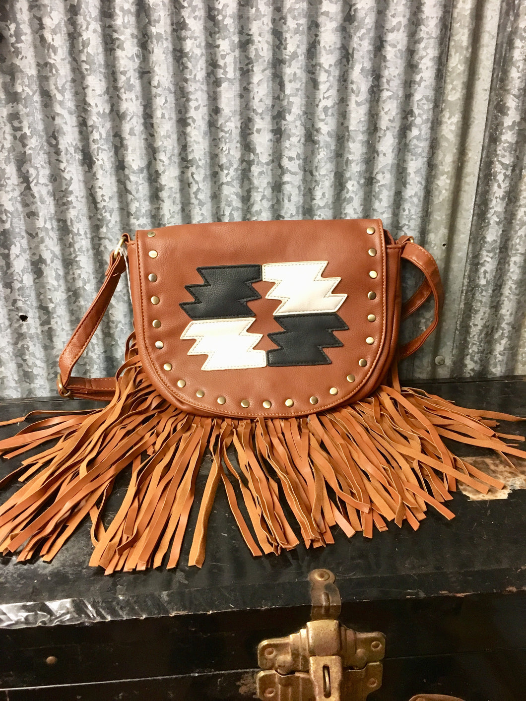 Brown Aztec Fringe Purse