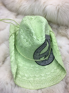 Lime Green Straw Hat with Peace Sign