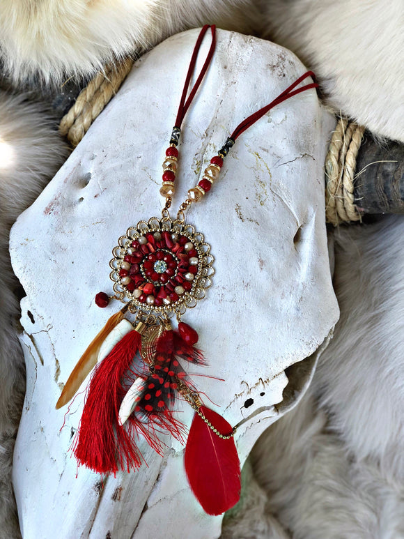 Red Tassel dream catcher necklace