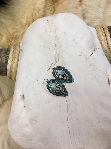 Turquoise Arrowhead Earrings with Cross