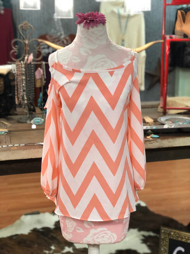 Peach and White Chevron Open Shouldered Blouse