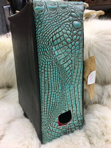 Turquoise Gator Skin Wine Box Cover