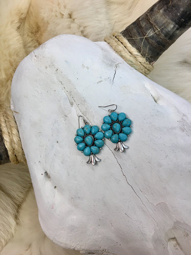 Turquoise Stone Flower Earrings