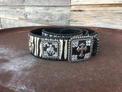Zebra Belt with Cowboy & Cross Buckles