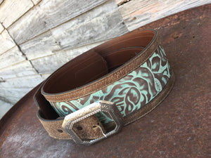 Brown & Turquoise Tooled Belt
