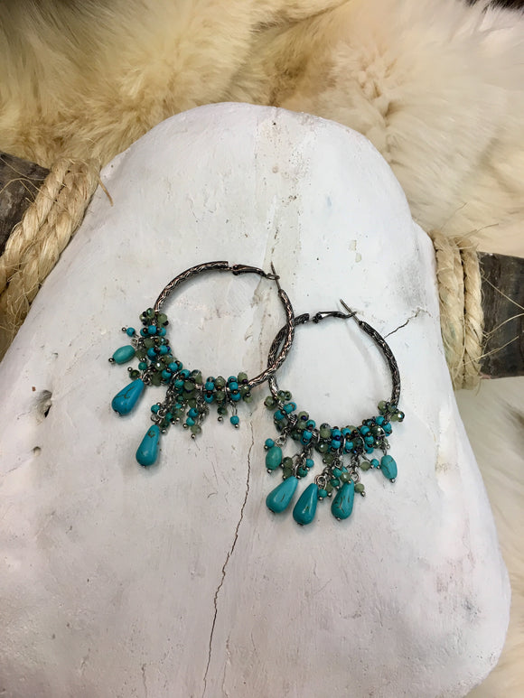 Silver & Turquoise Beaded Hoop Earrings