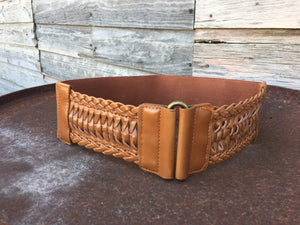 Tan Braided Stretchy Belt