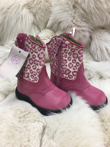 Roper Infant Pink Leopard Glitter Zip-up Boots
