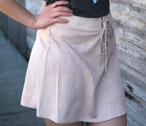 Blush Suede Skirt