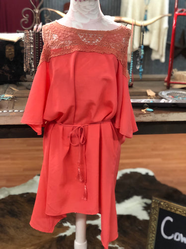 Peach and Lace Open Shouldered Dress